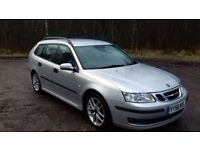Saab Manual 9-3 Diesel Estate. Very tidy car in silver with 1/2 leather grey interior.
