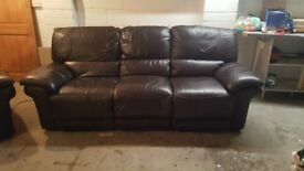 Leather 3 seater Sofa and Armchair Dark Brown full electric reclining. Can deliver in Fife.