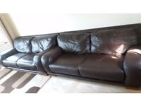 2 x Large High Quality Brown Leather Settees