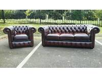 Chesterfield oxblood leather 2 piece suite. EXCELLENT CONDITION! BARGAIN.