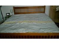 Super king size wooden bed frame with memory foam mattress