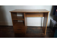 Wooden desk with shelves and drawer