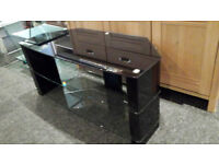 EX-DISPLAY BLACK/CLEAR GLASS & HIGH GLOSS 3 TIER TV STAND