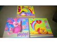 Three colourful pooh bear wall pictures, winnie the pooh, piglet and eeyore.