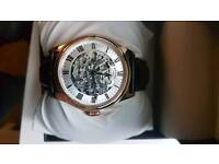 Rotery Watch - Rose Gold, Brown Leather Strap