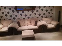 LARGE 2 SEATER SOFA, 2 X ARMCHAIRS, 1 X FOOTSTOOL £150 QUICK COLLECTION