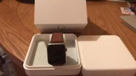Apple iWatch - 42mm Stainless Steel with Saddle Brown Leather Strap - Series 1