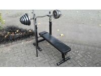 WEIGHTS BENCH WITH DIPS & EZ BAR & STRAIGHT BAR WITH WEIGHTS