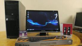 "HP XW4400 CAD Workstation Computer Desktop PC & Samsung Synmaster 20"""