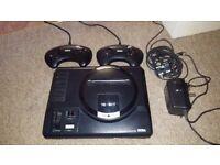 Sega Mega Drive - original MK1 + 2 controllers & leads