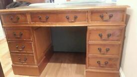 Wood desk with leather top