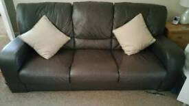 Chocolate leather sofa 3 seater