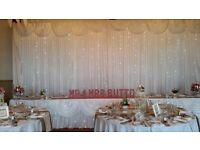 Wedding Chair Cover & Sashes, Starlit backdrop, love letters, Centrepieces , Dance Floors
