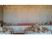 Hire of Wedding Chair Cover & Sashes, Starlit backdrop, Candy Cart, Centrepieces & Balloon Designs