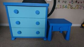 Kids blue ikea draws and bedside table
