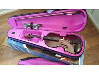 Ashton Student Violin - purple. Boxed brand new, never used. Comes with case and Rosin