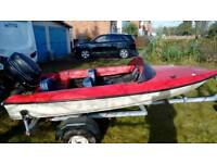 Fletcher 13' speedboat, Mercury 402 outboard and trailer