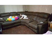 Large dark brown recliner sofa