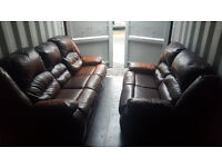 2 & 3 Seater Sofa Leather Reclining Brown - Good Condition