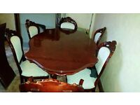 Italian Inlaid Dinning Table And Six Chairs