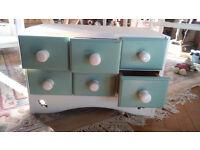 Six drawer spice chest - shabby chic chalk white/green