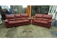 Leather 2 & 3 seater Sofas - Burgandy
