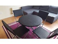 Folding garden table and chairs - rattan effect