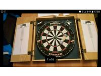 Dart Board in cabinet with darts as NEW collection from Calverton Nottingham DARTBOARD