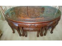 Oriental Chinese carved coffee table with stools - house clearance.