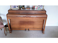 """Kemble teak colour piano. Good condition. Width 51"""" depth 21"""". Stool included"""