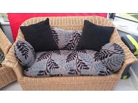 Conservatory Wicker 2 seater + 2 singles - Good Condition inc Cushions