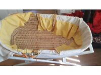 moses basket with mamas and papas white stand