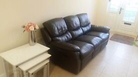 Full leather three seater recliner brown fantastic condition