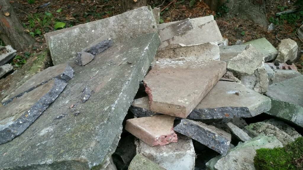 Broken slabs and rubble