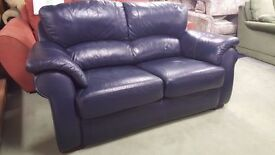 Comfortable Navy Blue Leather Two Seater Sofa In Great Condition