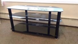Large black TV stand.