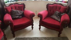 Italian style perfect condition red 3 piece sofas set