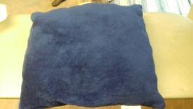 Royal blue fleece Cushion. Square. 41cms x 41cms. Machine washable. Good condition.