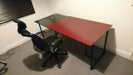 Habitat Desk with Trestle Legs & 1 Black & 1 Red Glass Top Tops. Table. Study. Office