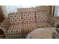 Moroccan sofa in gold and burgundy.