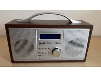 RED WOODEN MODEL 583 151 PORTABLE DAB / FM RADIO.