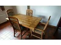 Oak herringbone 5ft table and 4 chairs