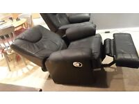 Black leather 2x recliners / lazy boy chairs
