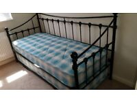 Day Bed, with trundle; Black metal, 2ft 6ins. 2 x sprung mattresses