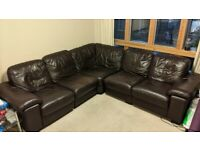 5 seat leather corner sofa