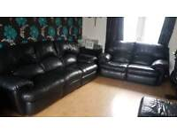 3 and 2 seater black leather recliner sofas