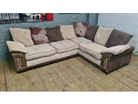 DESIGNER CORNER SOFA & CUDDLE CHAIR WITH PUFFA SET VERY NICE SMART VERY COMFY