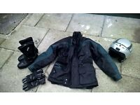 Motorbike Bering Jacket, Akido Boots, Lewis Gloves and Caberg Flip Face Helmet