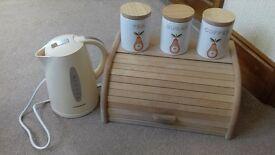 kettle, bread bin, cannisters