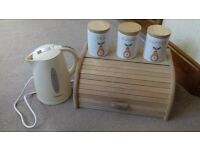 kettle, bread bin, cannisters